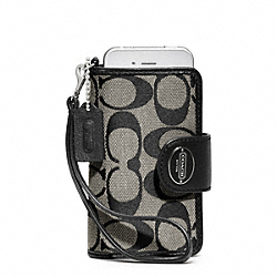 COACH SIGNATURE PHONE WRISTLET - SILVER/BLACK/WHITE/BLACK - F63827