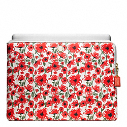 COACH POPPY FLORAL L-ZIP LAPTOP SLEEVE - BRASS/WHITE MULTICOLOR - F63857