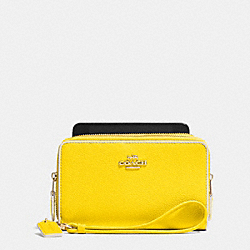 COACH DOUBLE ZIP PHONE WALLET IN COLORBLOCK LEATHER - LIDZZ - F63910