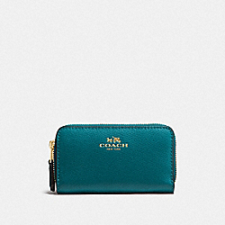 COACH SMALL DOUBLE ZIP COIN CASE IN CROSSGRAIN LEATHER - IMITATION GOLD/ATLANTIC - F63921