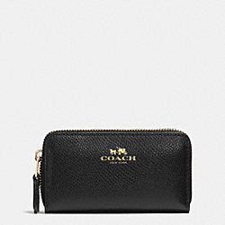 SMALL DOUBLE ZIP COIN CASE IN CROSSGRAIN LEATHER - LIGHT GOLD/BLACK - COACH F63921