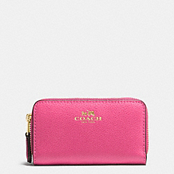 COACH SMALL DOUBLE ZIP COIN CASE IN CROSSGRAIN LEATHER - IMITATION GOLD/DAHLIA - F63921