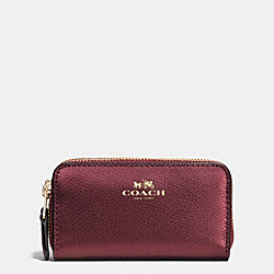 SMALL DOUBLE ZIP COIN CASE IN CROSSGRAIN LEATHER - f63921 - IME42