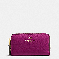 SMALL DOUBLE ZIP COIN CASE IN CROSSGRAIN LEATHER - f63921 - IMITATION GOLD/FUCHSIA