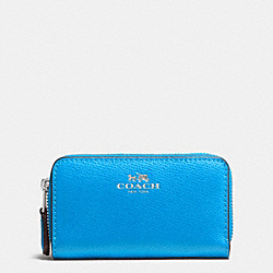 COACH SMALL DOUBLE ZIP COIN CASE IN CROSSGRAIN LEATHER - SILVER/AZURE - F63921
