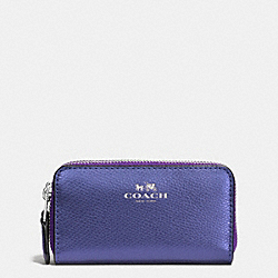 COACH SMALL DOUBLE ZIP COIN CASE IN CROSSGRAIN LEATHER - SILVER/METALLIC PURPLE IRIS - F63921