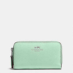 COACH SMALL DOUBLE ZIP COIN CASE IN CROSSGRAIN LEATHER - SILVER/SEAGLASS - F63921
