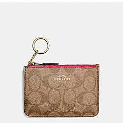 COACH KEY POUCH WITH GUSSET IN SIGNATURE - IMITATION GOLD/KHAKI BRIGHT PINK - F63923