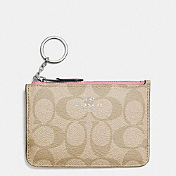 KEY POUCH WITH GUSSET IN SIGNATURE COATED CANVAS - f63923 - SILVER/LIGHT KHAKI/BLUSH