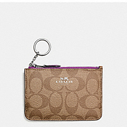 KEY POUCH WITH GUSSET IN SIGNATURE COATED CANVAS - SILVER/KHAKI - COACH F63923