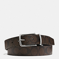 COACH HARNESS CUT TO SIZE REVERSIBLE BELT IN SIGNATURE - SILVER/MAHOGANY/BROWN - F63937