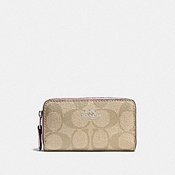 COACH SMALL DOUBLE ZIP COIN CASE IN SIGNATURE - SILVER/LIGHT KHAKI/PETAL - F63975