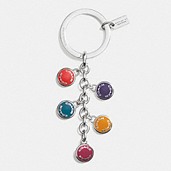 COACH BUTTONS MULTI MIX KEY RING - SILVER/CRANBERRY/MULTICOLOR - COACH F63982