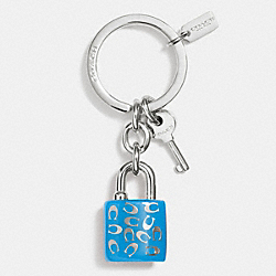 COACH SPRINKLE C LOCK AND KEY KEY RING - SILVER/AZURE - F63985