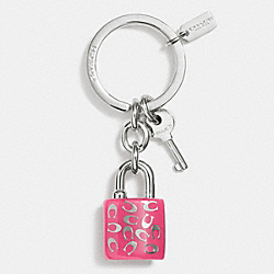 COACH SPRINKLE C LOCK AND KEY KEY RING - SILVER/DARK PINK - F63985