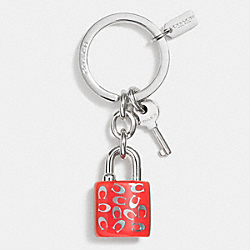 COACH SPRINKLE C LOCK AND KEY KEY RING - SILVER/ORANGE - F63985