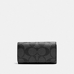 COACH 4 RING KEY CASE IN SIGNATURE - CHARCOAL/BLACK - F64005