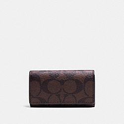 COACH 4 RING KEY CASE IN SIGNATURE - MAHOGANY/BROWN - F64005