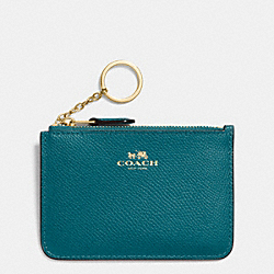COACH KEY POUCH WITH GUSSET IN CROSSGRAIN LEATHER - IMITATION GOLD/ATLANTIC - F64064