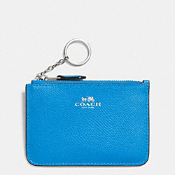 COACH KEY POUCH WITH GUSSET IN CROSSGRAIN LEATHER - SILVER/AZURE - F64064
