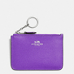 COACH KEY POUCH WITH GUSSET IN CROSSGRAIN LEATHER - SILVER/PURPLE IRIS - F64064