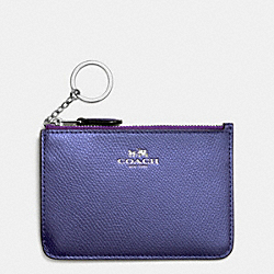 COACH KEY POUCH WITH GUSSET IN CROSSGRAIN LEATHER - SILVER/METALLIC PURPLE IRIS - F64064