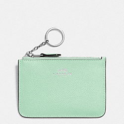 COACH KEY POUCH WITH GUSSET IN CROSSGRAIN LEATHER - SILVER/SEAGLASS - F64064
