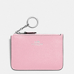 COACH KEY POUCH WITH GUSSET IN CROSSGRAIN LEATHER - SILVER/PETAL - F64064