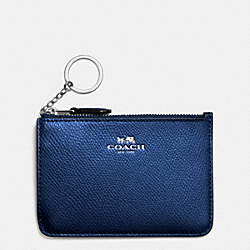 COACH KEY POUCH WITH GUSSET IN CROSSGRAIN LEATHER - SILVER/METALLIC MIDNIGHT - F64064