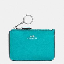 COACH KEY POUCH WITH GUSSET IN CROSSGRAIN LEATHER - SILVER/TURQUOISE - F64064