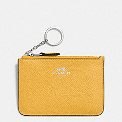 COACH KEY POUCH WITH GUSSET IN CROSSGRAIN LEATHER - SILVER/CANARY - F64064