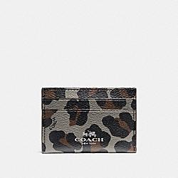 COACH FLAT CARD CASE WITH OCELOT PRINT - SILVER/GREY MULTI - F64065