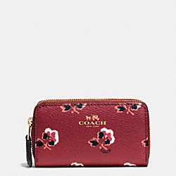 SMALL DOUBLE ZIP COIN CASE IN BRAMBLE ROSE COATED CANVAS - f64066 - IMBYM