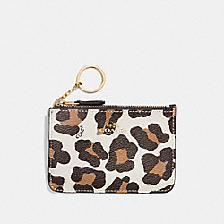 COACH KEY POUCH WITH GUSSET IN OCELOT PRINT HAIRCALF - LIGHT GOLD/CHALK MULTI - F64072