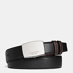 DRESS PLAQUE CUT-TO-SIZE REVERSIBLE BELT - BLACK/DARK BROWN - COACH F64095