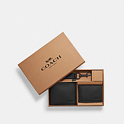 COACH COMPACT ID WALLET IN SPORT CALF LEATHER - BLACK - F64118