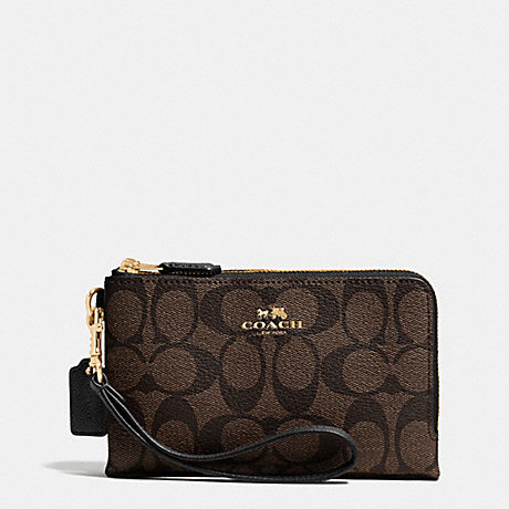 COACH DOUBLE CORNER ZIP WRISTLET IN SIGNATURE COATED CANVAS - LIGHT GOLD/BROWN/BLACK - f64131