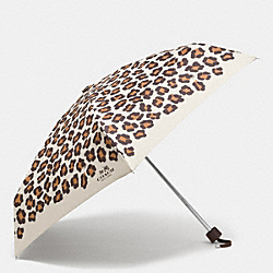 COACH OCELOT PRINT MINI UMBRELLA - SILVER/CHALK MULTI - F64148