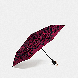COACH OCELOT PRINT UMBRELLA - SILVER/CRANBERRY - F64150