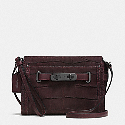 COACH SWAGGER WRISTLET IN CROC EMBOSSED NUBUCK - BLACK ANTIQUE NICKEL/OXBLOOD - COACH F64213