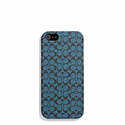 COACH HERITAGE SIGNATURE IPHONE 5 CASE - NAVY/STORM BLUE - F64218