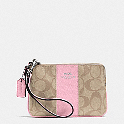COACH CORNER ZIP WRISTLET IN SIGNATURE COATED CANVAS WITH LEATHER - SILVER/LIGHT KHAKI/PETAL - F64233
