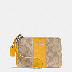 COACH CORNER ZIP WRISTLET IN SIGNATURE COATED CANVAS WITH LEATHER - SILVER/LIGHT KHAKI/CANARY - F64233