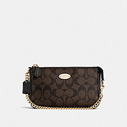 COACH LARGE WRISTLET 19 IN SIGNATURE COATED CANVAS - LIGHT GOLD/BROWN/BLACK - F64234