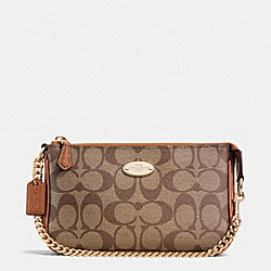 COACH LARGE WRISTLET 19 IN SIGNATURE COATED CANVAS - LIGHT GOLD/KHAKI/SADDLE - F64234