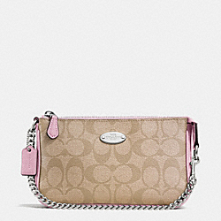 COACH LARGE WRISTLET 19 IN SIGNATURE COATED CANVAS - SILVER/LIGHT KHAKI/PETAL - F64234