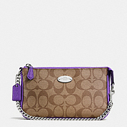 COACH LARGE WRISTLET 19 IN SIGNATURE COATED CANVAS - SILVER/KHAKI/PURPLE IRIS - F64234