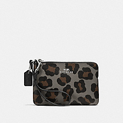 COACH CORNER ZIP WRISTLET WITH OCELOT PRINT - SILVER/GREY MULTI - F64238