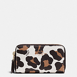COACH DOUBLE ZIP COIN CASE IN OCELOT PRINT HAIRCALF - LIGHT GOLD/CHALK MULTI - F64241