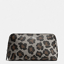 COACH COSMETIC CASE 22 IN OCELOT PRINT HAIRCALF - SILVER/GREY MULTI - F64242